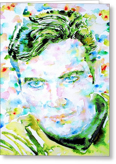 Enterprise Paintings Greeting Cards - JAMES T. KIRK - watercolor portrait Greeting Card by Fabrizio Cassetta