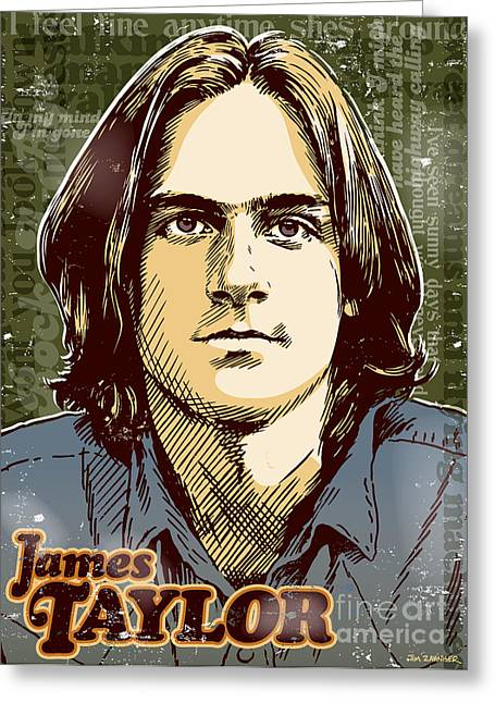 70s Greeting Cards - James Taylor Pop Art Greeting Card by Jim Zahniser