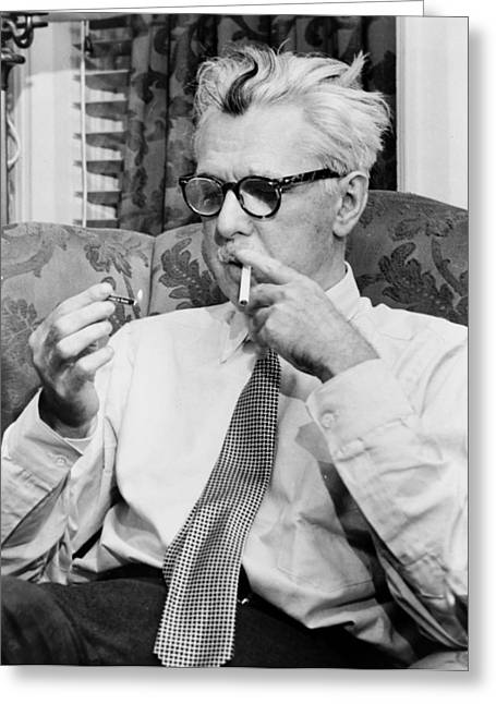 Smoking Book Greeting Cards - James Thurber 1954 Greeting Card by Mountain Dreams