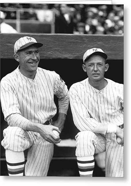 Baseball Uniform Greeting Cards - James W. Zack Taylor with Larry Benton Greeting Card by Retro Images Archive