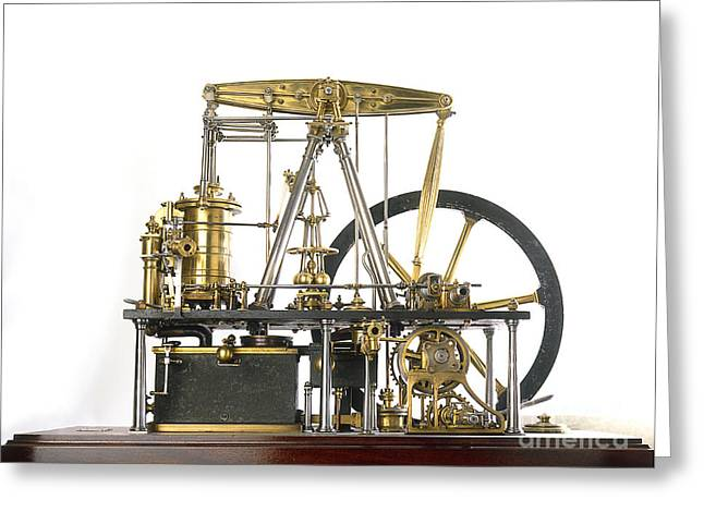 Industrial Background Greeting Cards - James Watts Steam Engine, 18th Century Greeting Card by Dave King / Dorling Kindersley / Science Museum, London