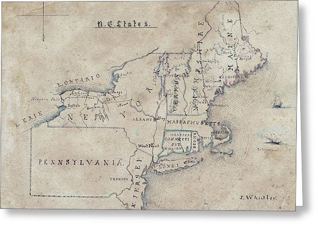 Hand Drawn Greeting Cards - JAMES WHISTLER MAP of NORTHEAST U. S.  1844 Greeting Card by Daniel Hagerman
