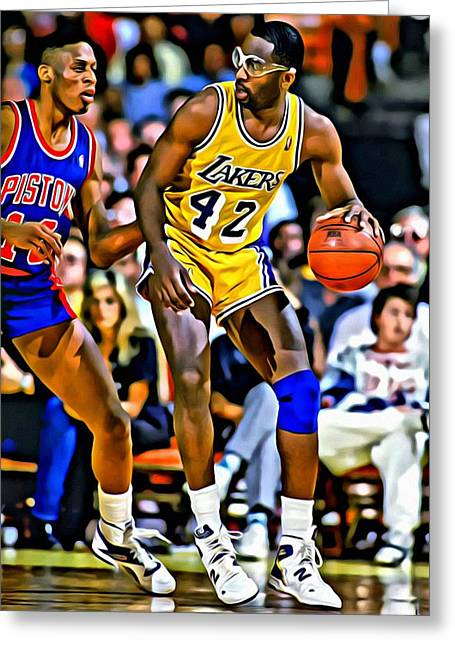 Lakers Greeting Cards - James Worthy Greeting Card by Florian Rodarte