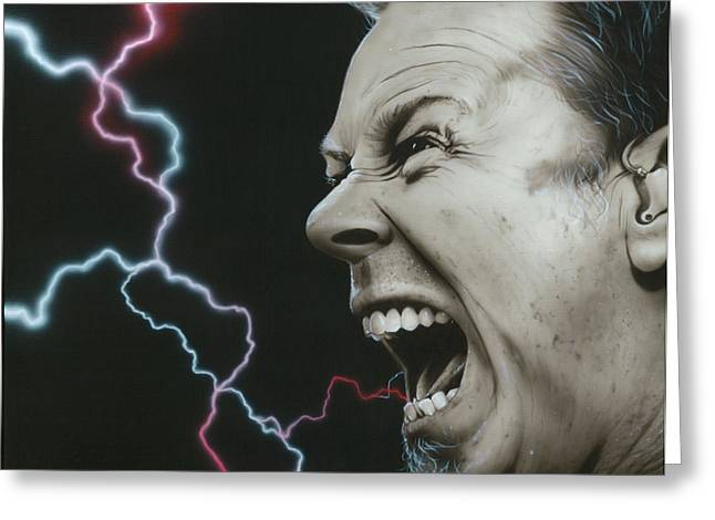 Metallica Greeting Cards - James Wrath Greeting Card by Christian Chapman Art