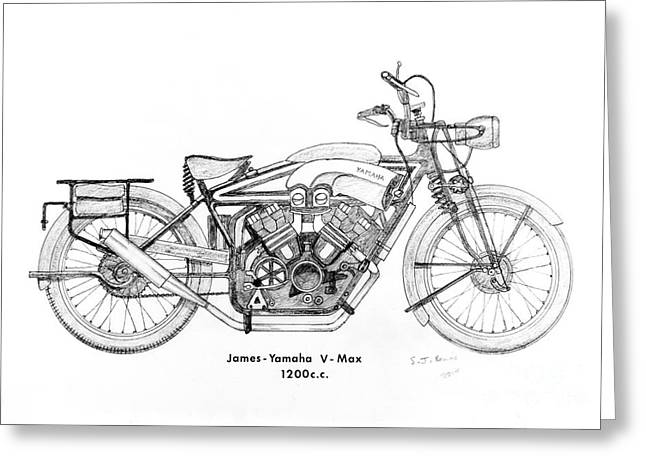 Suspension Drawings Greeting Cards - James-Yamaha Vmax Greeting Card by Stephen Brooks