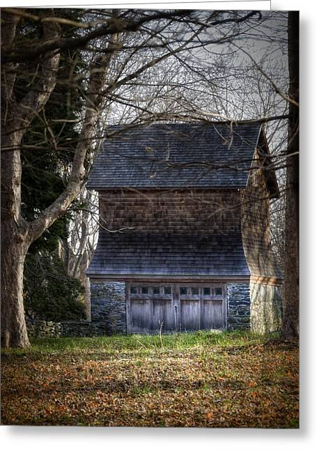 Barn Door Greeting Cards - Jamestown House Greeting Card by Joan Carroll