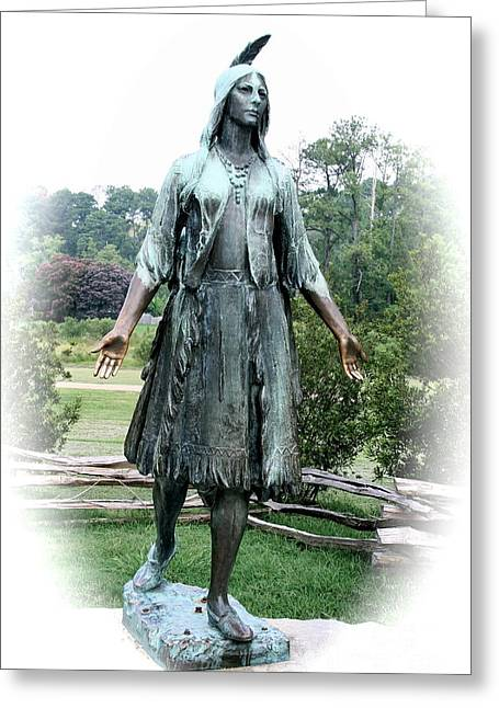 Bronce Greeting Cards - Jamestown Pocahontas Statue Greeting Card by Christiane Schulze Art And Photography