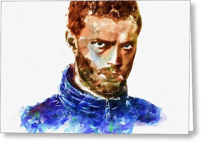Serial Killer Mixed Media Greeting Cards - Jamie Dornan as Paul Spector watercolor Greeting Card by Marian Voicu
