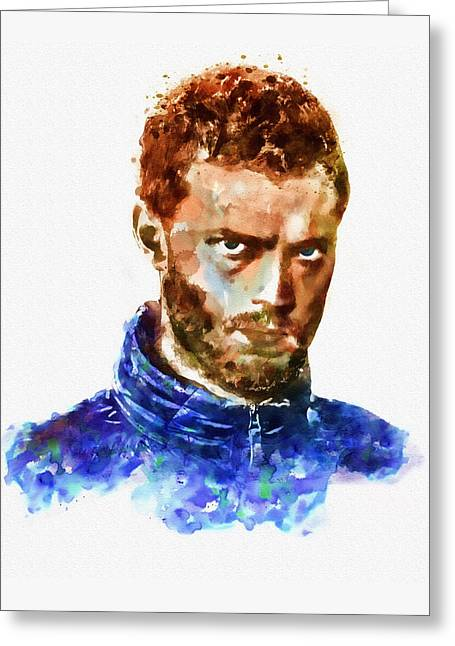 Shade Mixed Media Greeting Cards - Jamie Dornan as Paul Spector watercolor Greeting Card by Marian Voicu