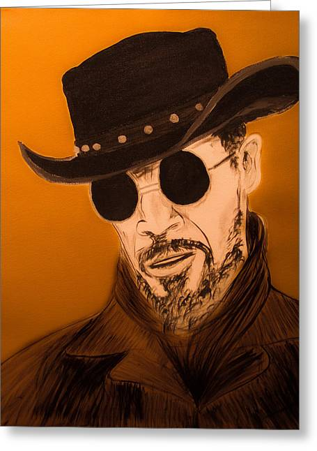 Slavery Paintings Greeting Cards - Jamie Foxx as Django Unchained Greeting Card by Casey Tovey