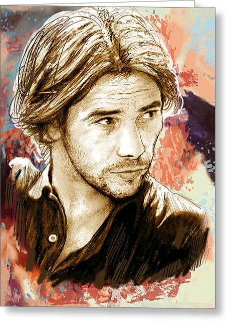 Featured Mixed Media Greeting Cards - Jamiroquai - stylised pop art drawing potrait poser stylised pop art drawing potrait poser Greeting Card by Kim Wang
