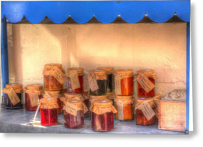 Label Greeting Cards - Jams for sale please leave the money Greeting Card by Michael Charles