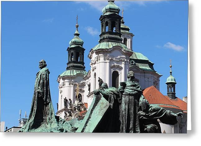 Town Sculptures Greeting Cards - Jan Hus Greeting Card by Arasaraajah Nathan
