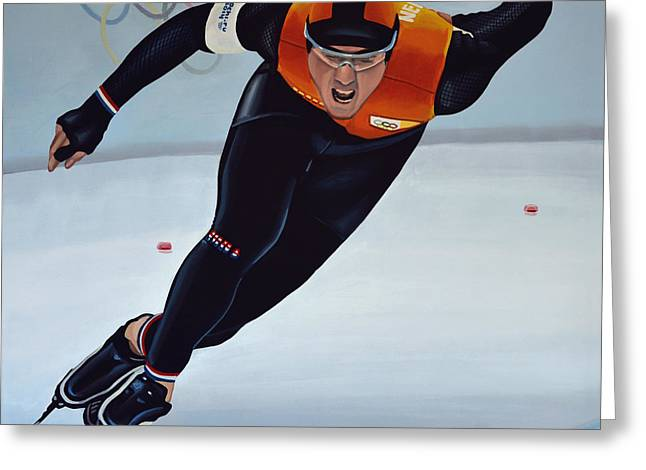 Skaters Greeting Cards - Jan Smeekens Greeting Card by Paul Meijering