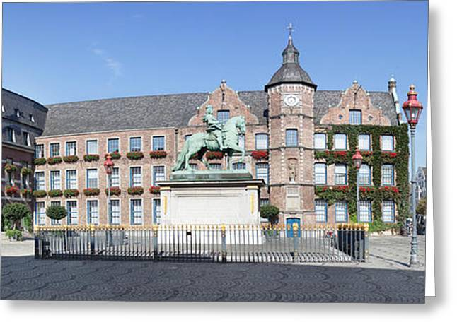 In-city Greeting Cards - Jan Wellem Statue In Front Of The Town Greeting Card by Panoramic Images