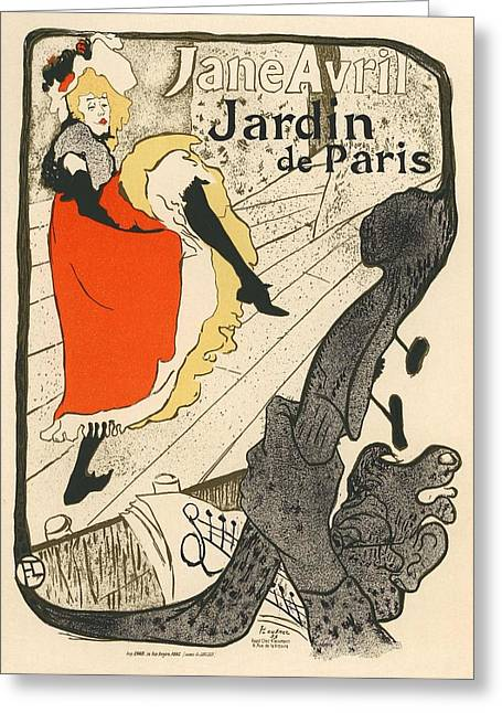 Belle Epoque Greeting Cards - Jane Avril Jardin de Paris Greeting Card by Gianfranco Weiss