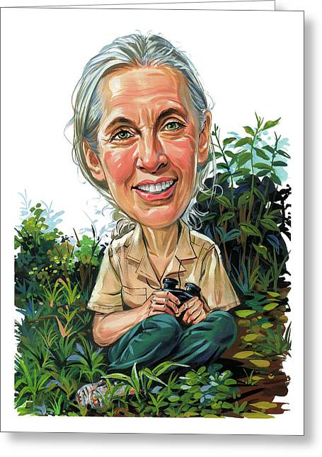 Chimpanzee Greeting Cards - Jane Goodall Greeting Card by Art