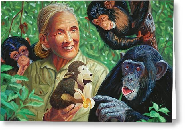 Chimpanzee Paintings Greeting Cards - Jane Goodall Greeting Card by Steve Simon