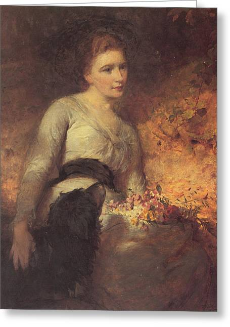 Dogie Greeting Cards - Jane Isabella Baird Greeting Card by George Elgar Hicks