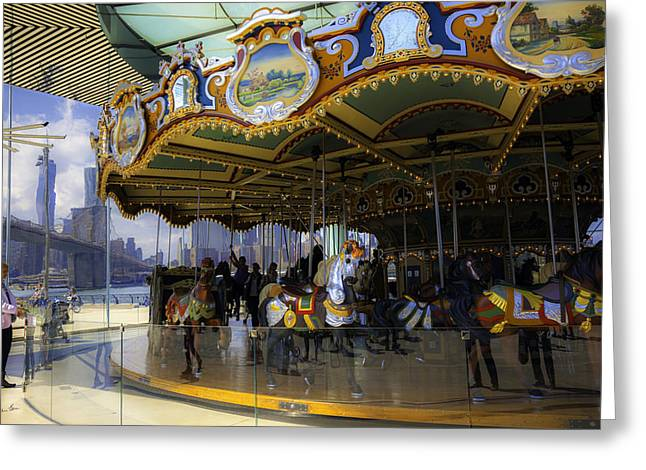 Wood Carving Greeting Cards - Janes Carousel 1 in Dumbo Greeting Card by Madeline Ellis