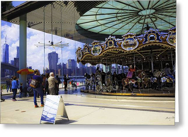 Wood Carving Greeting Cards - Janes Carousel 2 In Dumbo - Brooklyn Greeting Card by Madeline Ellis