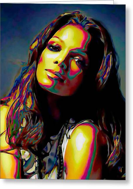 Woman Head Prints Greeting Cards - Janet Jackson Greeting Card by  Fli Art