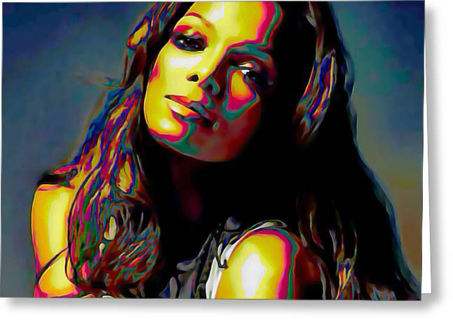 Print On Canvas Greeting Cards - Janet Jackson Greeting Card by  Fli Art