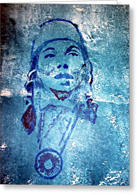 Native Reliefs Greeting Cards - Janet McCloud Greeting Card by Jane Madrigal