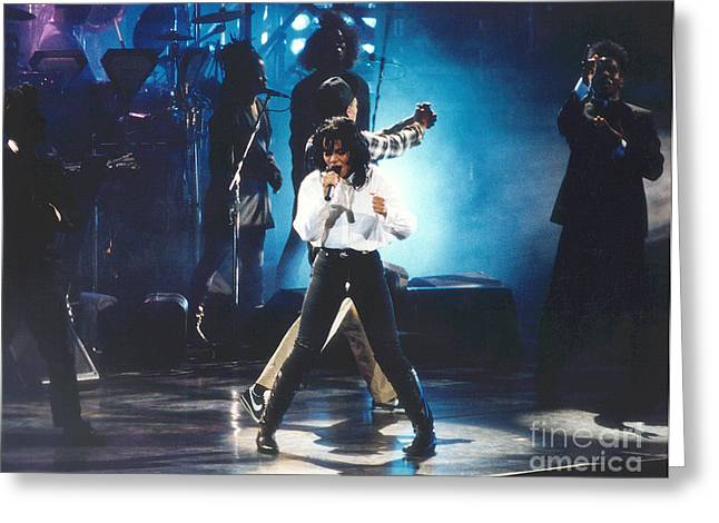 Janet Jackson Greeting Cards - Janet-Rhythm-Blue Greeting Card by Gary Gingrich Galleries
