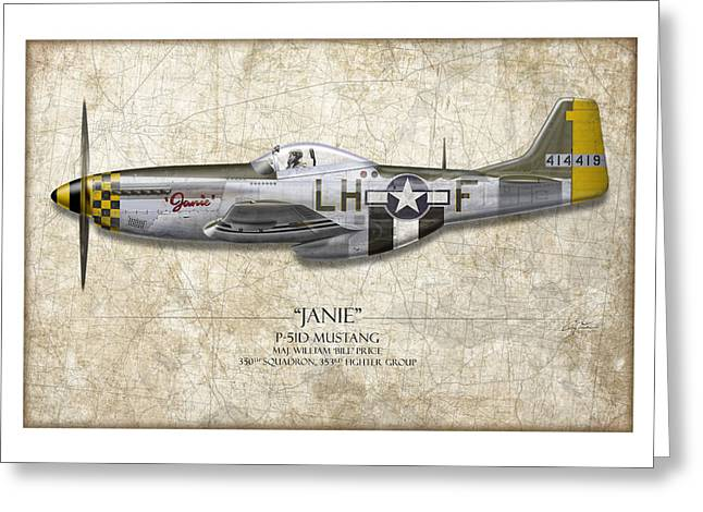 P51 Mustang Greeting Cards - Janie P-51D Mustang - Map Background Greeting Card by Craig Tinder