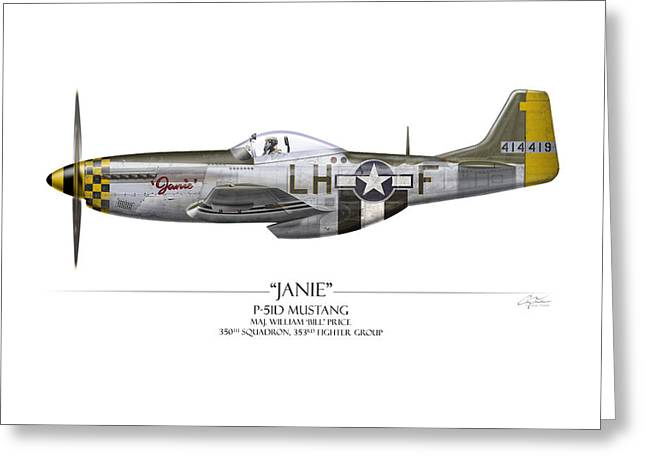 Aircraft Artwork Greeting Cards - Janie P-51D Mustang - White Background Greeting Card by Craig Tinder
