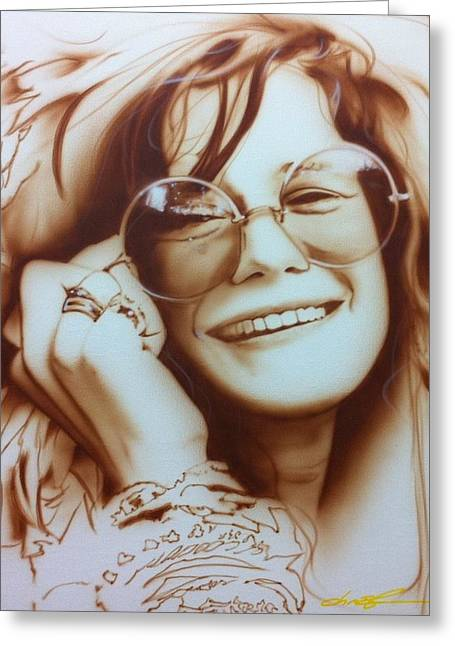 Sixties Greeting Cards - Janis Greeting Card by Christian Chapman Art