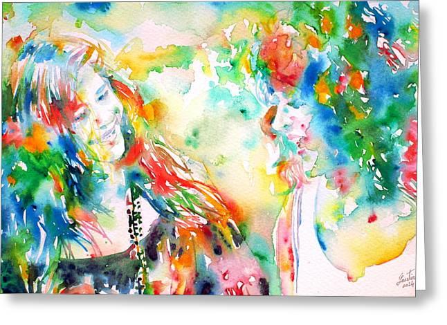 Janis Joplin Greeting Cards - JANIS JOPLIN and GRACE SLICK - watercolor PORTRAIT.2 Greeting Card by Fabrizio Cassetta
