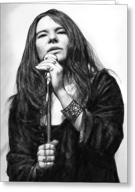 Janis Joplin Art Drawing Sketch Portrait Greeting Card by Kim Wang