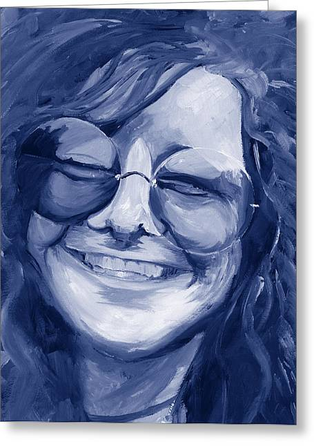 Duo Tone Paintings Greeting Cards - Janis Joplin Blue Greeting Card by Michele Engling