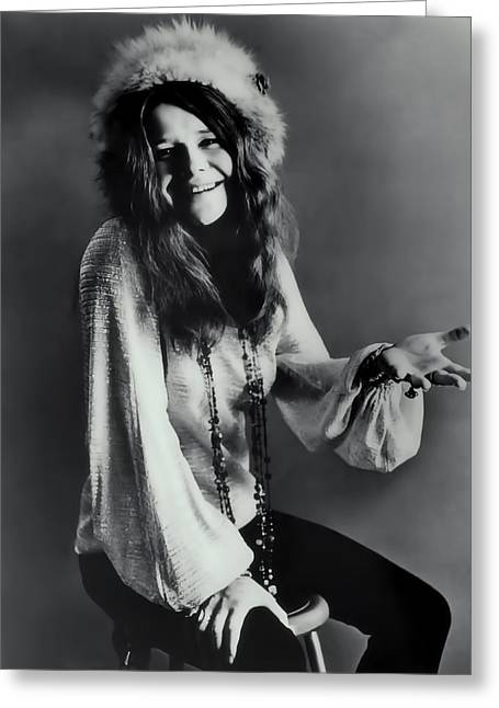 Janis Joplin Greeting Card by Daniel Hagerman
