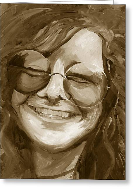 Duo Tone Paintings Greeting Cards - Janis Joplin Gold Greeting Card by Michele Engling