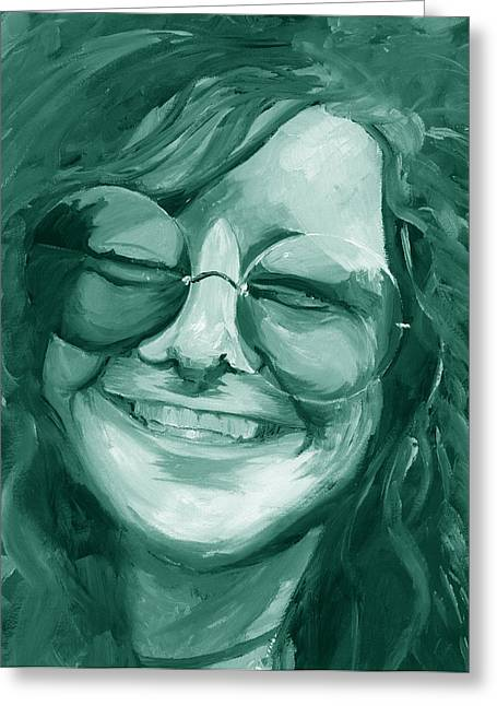 Duo Tone Greeting Cards - Janis Joplin Green Greeting Card by Michele Engling
