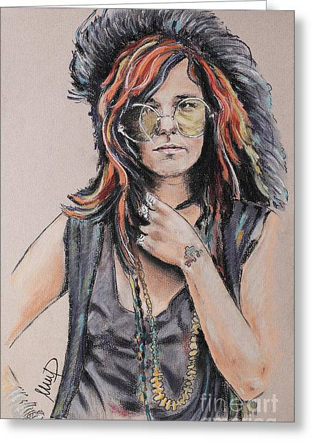 Janis Joplin Greeting Card by Melanie D