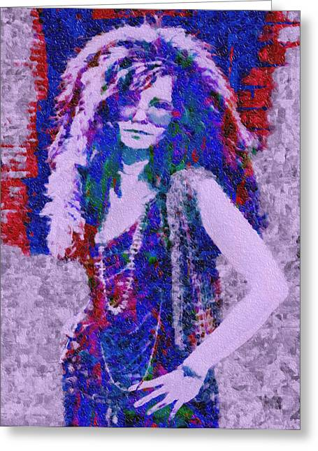 My Baby Greeting Cards - Janis Joplin Mosaic Greeting Card by Jack Zulli