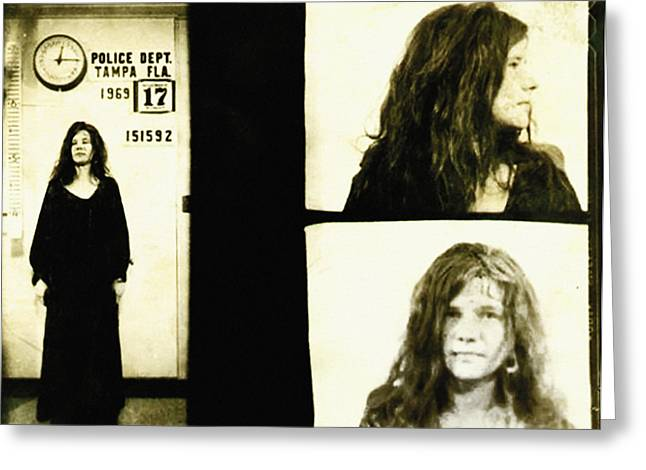Janis Joplin Mugshot Greeting Card by Bill Cannon