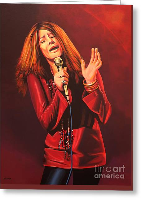Janis Joplin Painting Greeting Card by Paul Meijering