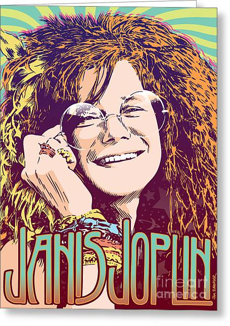 Monterey Greeting Cards - Janis Joplin Pop Art Greeting Card by Jim Zahniser