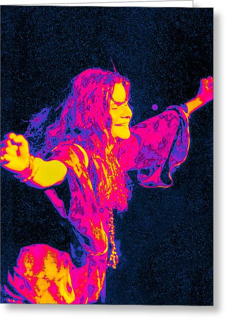 Recording Artists Greeting Cards - Janis Joplin Psychedelic Fresno 2 Greeting Card by Joann Vitali