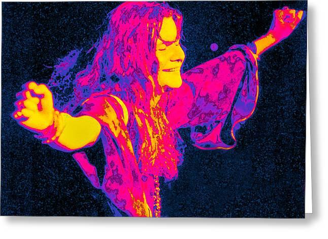 Janis Joplin Psychedelic Fresno 2 Greeting Card by Joann Vitali