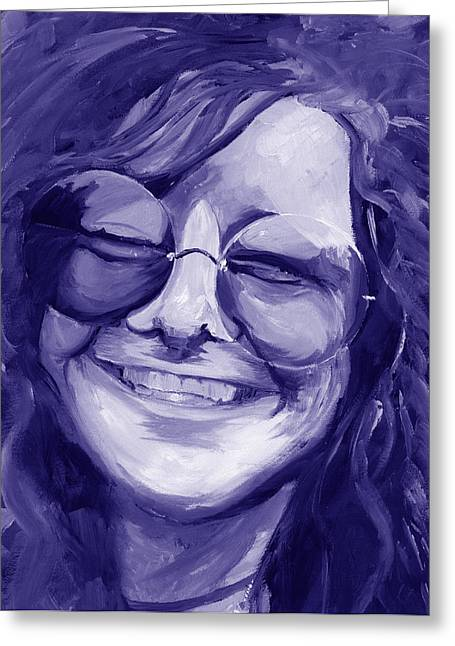 Duo Tone Greeting Cards - Janis Joplin Purple Greeting Card by Michele Engling
