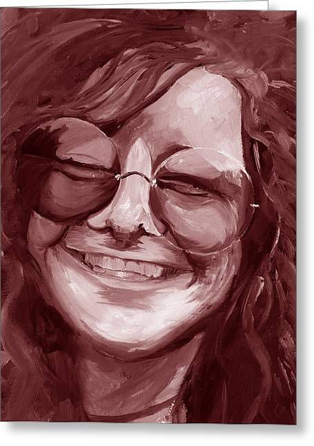 Duo Tone Greeting Cards - Janis Joplin Red Greeting Card by Michele Engling