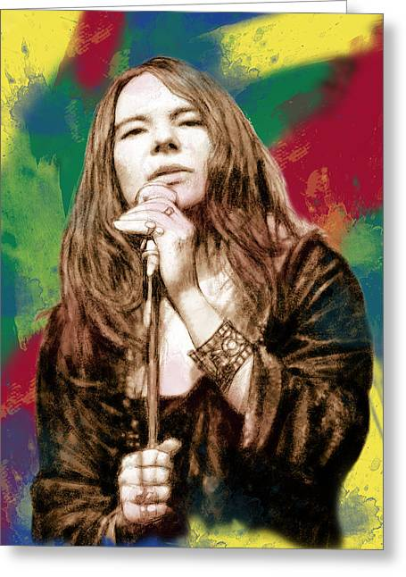 Lead Singer Greeting Cards - Janis Joplin - stylised drawing art poster Greeting Card by Kim Wang