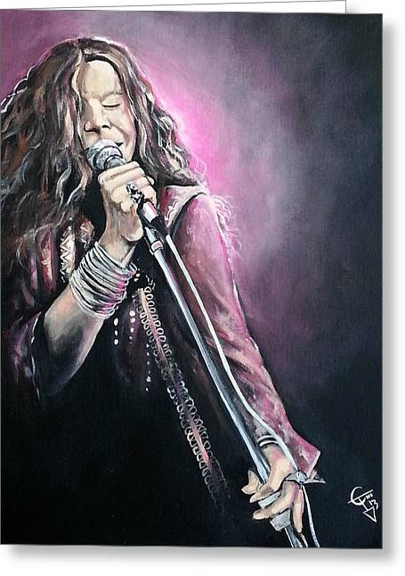 Jani Greeting Cards - Janis Joplin Greeting Card by Tom Carlton