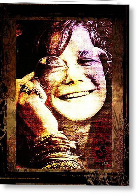 60s Music Digital Greeting Cards - Janis Joplin - Upclose Greeting Card by Absinthe Art By Michelle LeAnn Scott